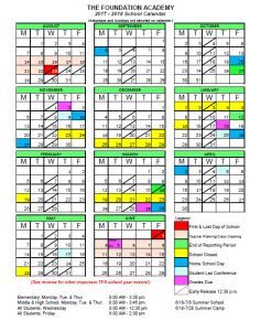 tfa 2017 2018 calendar